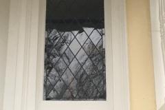 Restored glass beside main door